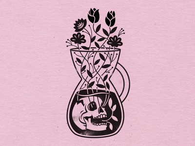 Bring Me Back to Life pink lemonade flowers chemex skull illustration design coffee