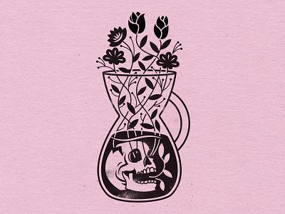 Bring Me Back to Life pink lemonade flowers chemex skull illustration design coffee