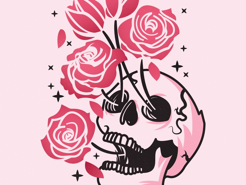 Bring Me Back to Life roses design illustration coffee skull