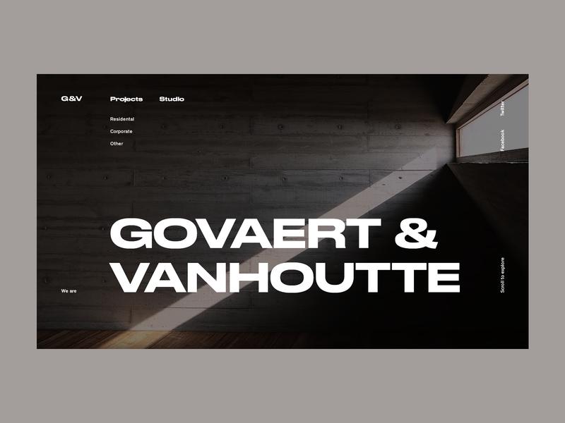 Govaert & Vanhoutte Architects #3 dark layout design black clean portfolio web ux ui concrete typogaphy minimal concept architects architechture