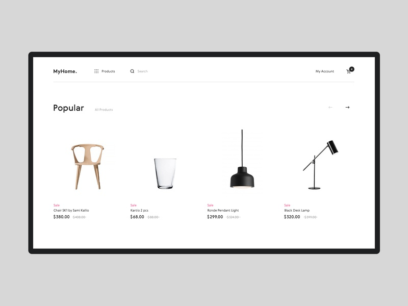 Myhome #4 website minimal white clean ux ui interface shopping furniture interior product store shop ecommerce design