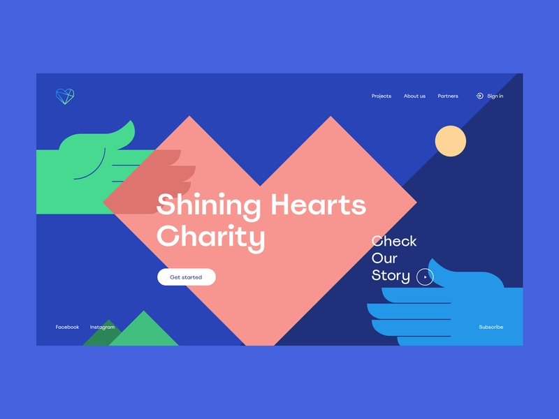 Shining Hearts Charity art people donation blue charity concept branding website web design minimal clean interface ux ui interaction illustration