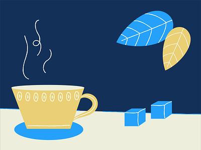 Mint Tea texture drink sugar leaves teacup illustrator illustration