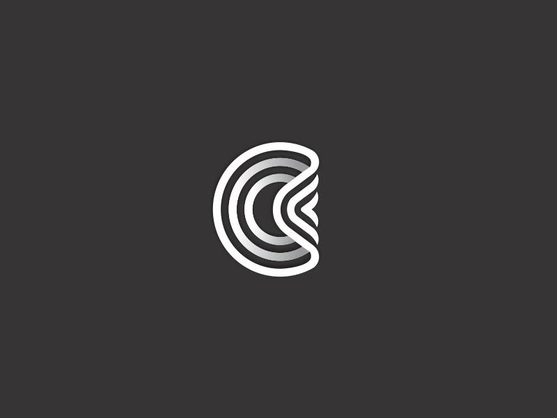 Bended Circle symbol simple mark logotype logo line identity icon design distorted bent circle