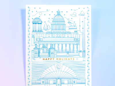 GWU 2017 Holiday Card metro. landmarks dc illustration
