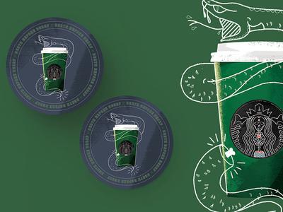 Death Before Decaf Coaster Design snake starbucks sticker mule coaster coffee