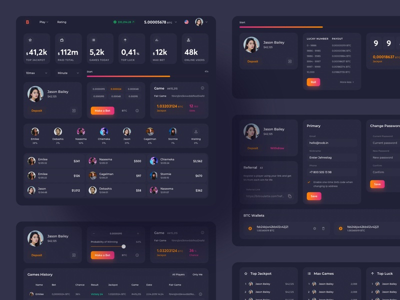 Bitcoin Roulette UI Map gambling play ico token game cryptocurrency bitcoin roulette pages colors mobile concept crypto neon darkmode interface webdesign productdesign uxdesign uidesign