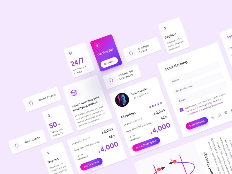 Trading Chat Bot Landing Page Mobile UI Kit infographics chart crypto design cryptocurrency fintech finance crypto trading ui kit minimal clean ui clean langing landing page mobile application app ux design ui design interface
