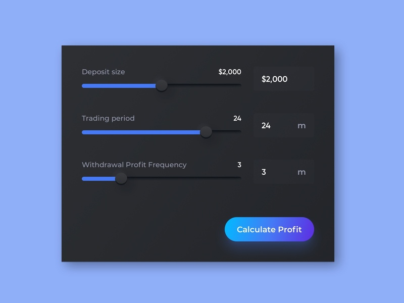 Trading Bot Landing Page Desktop Calculator calc slider crypto design cryptocurrency fintech finance crypto trading calculator neomorfism dark ui dark mode langing landing page desktop web design web ux design ui design interface