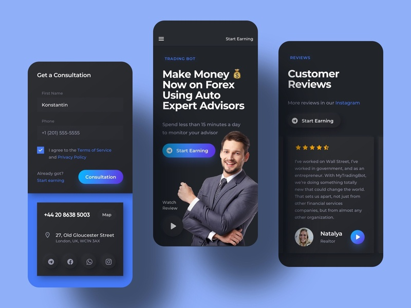 Trading Bot Landing Page Mobile Screens field form crypto design cryptocurrency fintech finance crypto trading screens neomorfism dark ui dark mode langing landing page mobile application app ux design ui design interface
