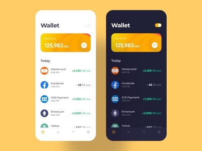Crypto Wallet Mobile App Concept menu header money finance crypto design cryptocurrency crypto wallet concept minimal clean ui clean account dashboard mobile application app ux design ui design interface