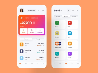 crypto wallet app mobile neumorphism light and dark coins payment method home screen mobile app crypto design mobile application crypto wallet app wallet crypto