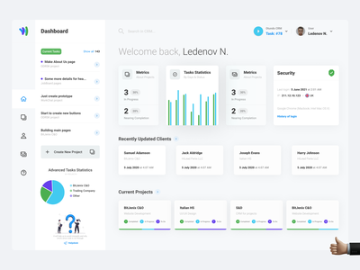 Task Management Dashboard monitoring jobs system ui design projects security management crm tracking statistics admin charts tasks dashboard