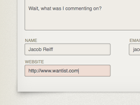 Comment form in progress