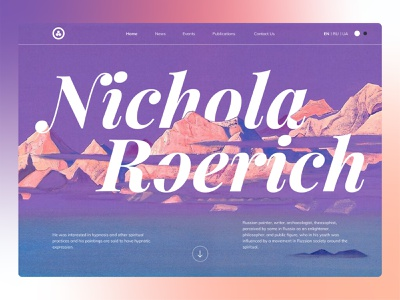 Main banner for Nichola Roerich museum webdesign ux education painting gradient ui typography design banner museum