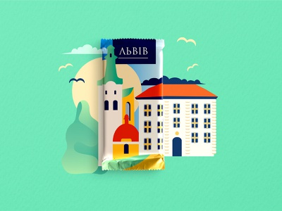 Chocolate Package Illustrations with Ukrainian cities✨ package lviv building green color ukraine sweets chocolate illustration design