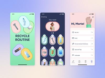 Recycle App UI/UX coins blockchain illustration typography design branding 3d splash screen ios app recycling ux ui