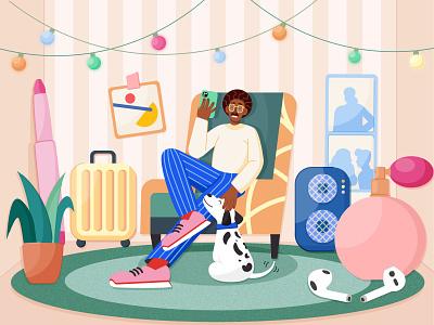 Illustration for online store distance shop shopping room pose store online man texture vector illustration