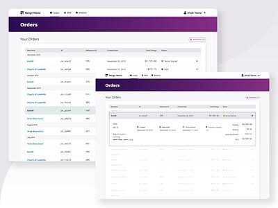 Rumbleship Dashboard - Orders list view order financial menu bar table user interface ui dashboad