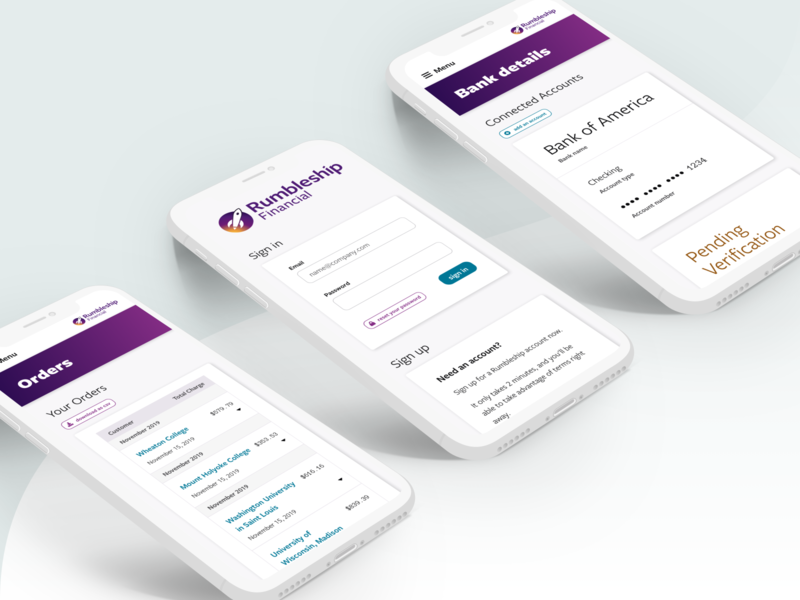 Rumbleship Dashboard - Mobile orders banking form tables onboarding ui mobile dashboad financial