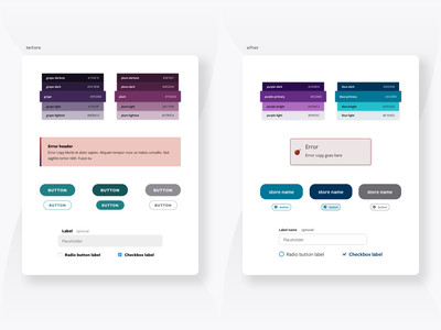 Gemini Design System - Before & After comparison alert before and after before after ux ui type scale system library form design system design component library component color palette button