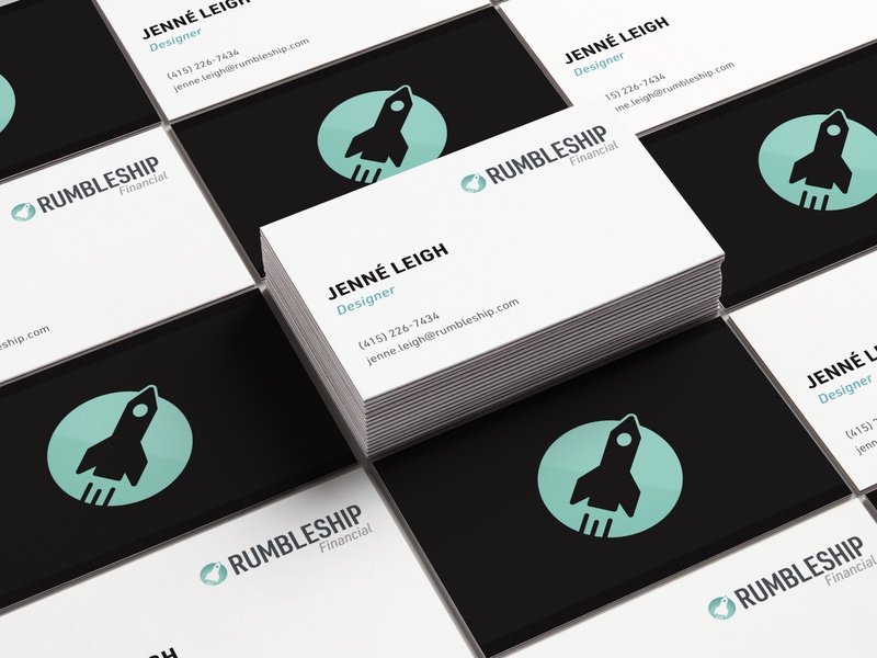 Rumbleship Financial Business Cards typography ship rocket wholesale branding logo financial business card design business cards