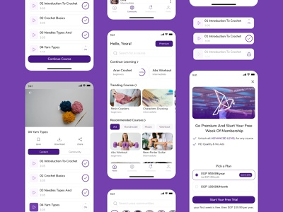 Hobbies learning app - Case study posts videos premium community elearning courses hobbies android ios mobile app app app design design ui ui deisgn