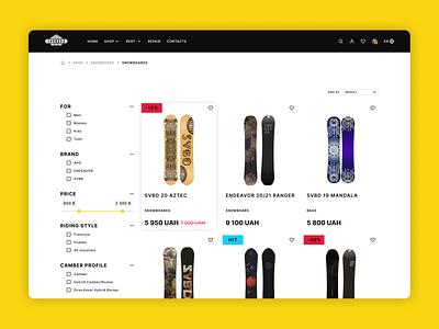 E-commerce Shop Page product store website shop design e-commerce