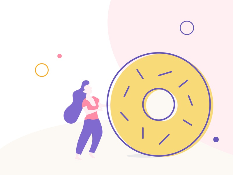 Rolling Doughnut graphic design art clean animation brand mobile minimal illustration identity website app branding illustrator design web vector ui food icon flat