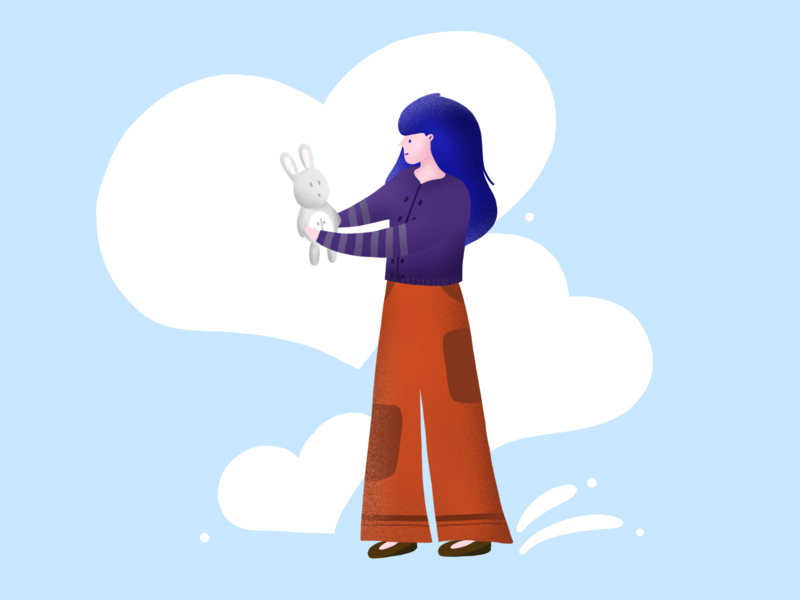 Girl with bunny apple pencil graphic design art illustrator illustration flat design digital drawing digital drawing ipad drawing ipad pro art ipad pro