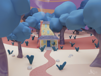 On my way to the pastel house pastel game design house illustration house low-poly lowpolyart lowpoly blender3d 3d art illustration 3d