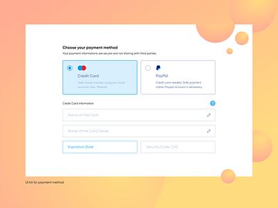 UI kit for payment method popular component dribbble ui kit web web design ui figma design clean card