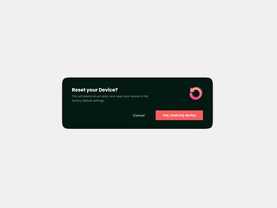Pop-up for Reset device component web ui kit ux pop-up ui card illustration web design minimalistic card ui figma design clean
