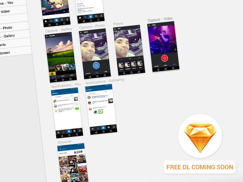 Instagram Android UI Freebie arkwerk wip coming soon instagram sketch ux ui ui kit free freebie