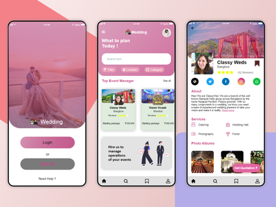 wed planner app design ui