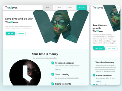 Go with theWaves, the marketing agency website mock agency marketing mock website design adobexd