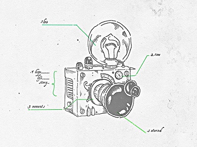 Camera dissection II bulbo bulb ilustracion dibujo steampunk vintage old illustration draw camara camera story time hope moments life eternal love
