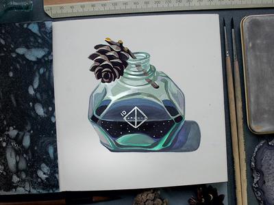 Сaustic flacon caustic painting gouache vial pinecone