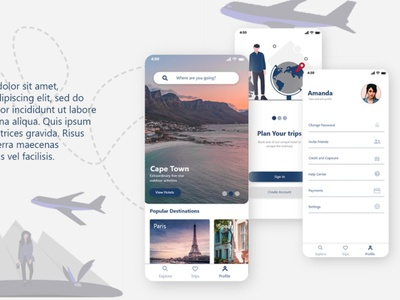 Travel App Design app ux design profile home onboarding illustraion airplane blue mobile ui uiux vacation trip booking travel app travel