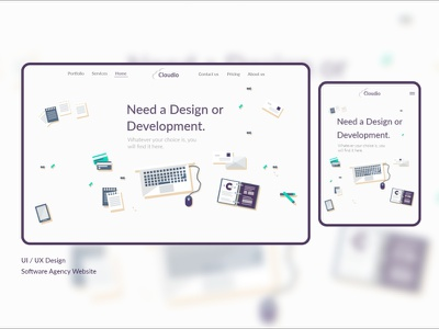 Software Agency Web Design vectors vector development software white clouds cloud purple responsive website design responsive web design responsive design responsive agency adobe xd xd design uiux adobe illustrator illustraion design
