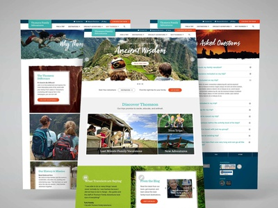 Thomson Family Adventures homepage web  design