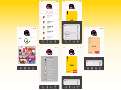 Kung Fu Tea App Redesign kung fu marketplace marketing bubble tea art app vector ui ux logo icon figma design branding