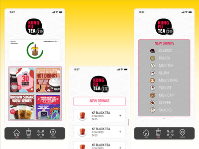 Kung Fu Tea App Redesign bubble tea app vector ux ui logo icon figma design branding