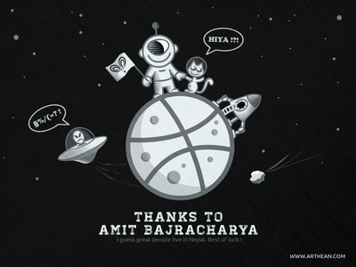 Hello Dribbble! logo illustration dribbble debut space astronaut moon planet alien rocket cat ufo