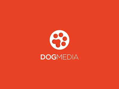 Dog Media logo design mark art symbol identity minimal film dog media movie reel paw