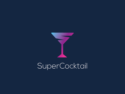 Super Cocktail art mark design logo glass cocktail super s letter negative space bar drink
