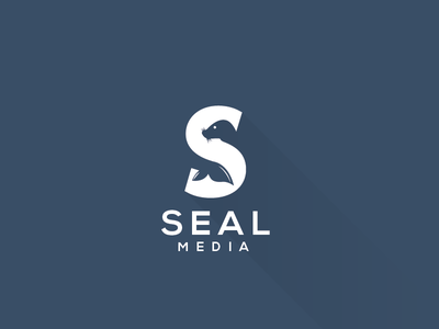 Seal Media logo design mark logotype symbol identity negative space seal media s letter smart