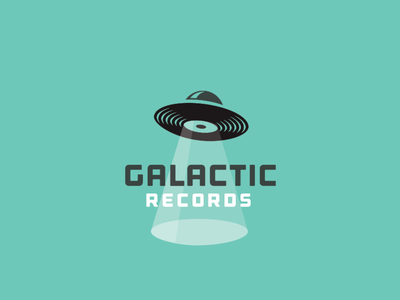 Galactic Records design mark art logotype symbol identity logo ufo alien galactic records music