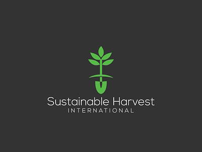SHI - Sustainable Harvest International identity eco design mark logotype symbol illustration logo sustainable tree trowel shovel