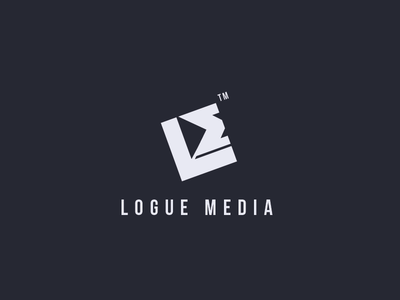 Logue Media initials letter logo logue media negative negative space smart l m play video
